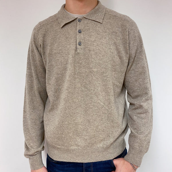 Men's Cappuccino Collared Jumper Large
