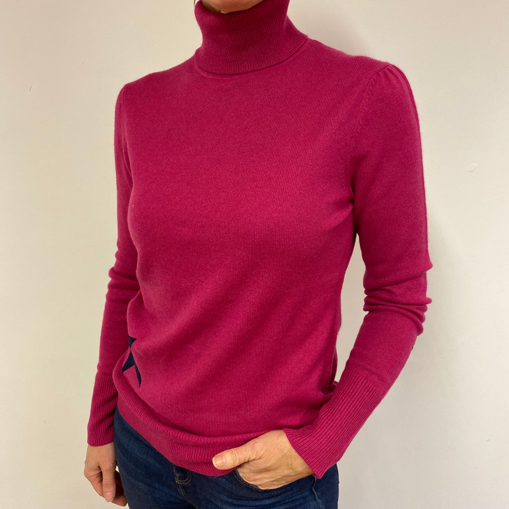 Cerise Pink Polo Neck Jumper Medium