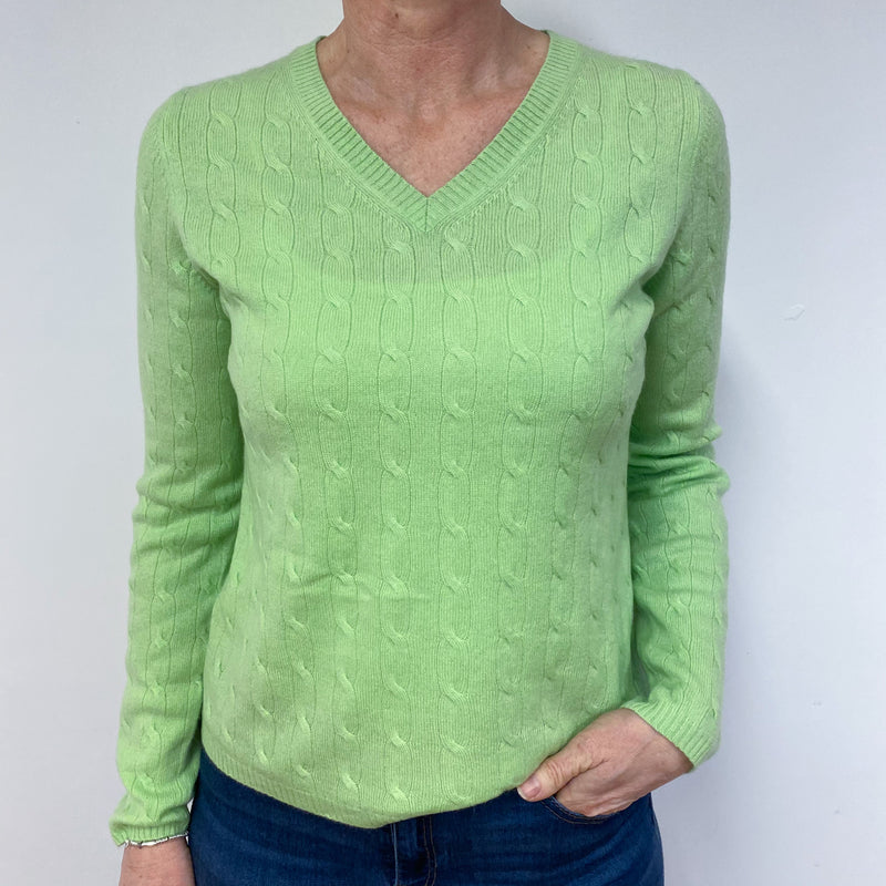 Spring Green Cable Knit V Neck Jumper Medium