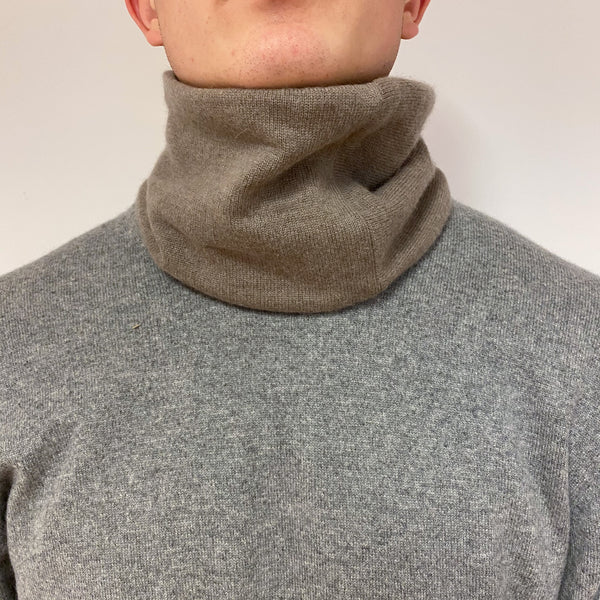 Reversible Chocolate and Soft Brown Neck Warmer Unisex