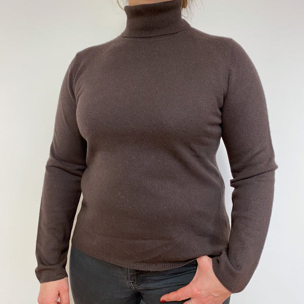Chocolate Brown Polo Neck Jumper Large