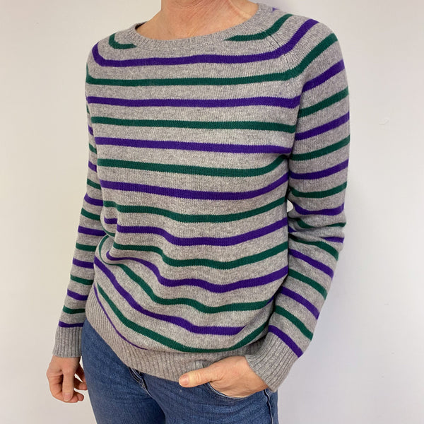 Grey Striped Crew Neck Jumper Medium