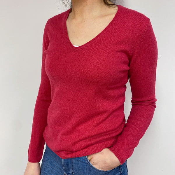 Old Fuchsia Pink V Neck Jumper Small