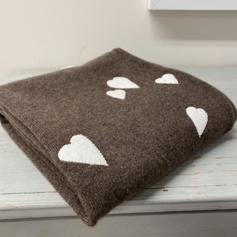 Stunning Muted Brown Heart Detailed Throw