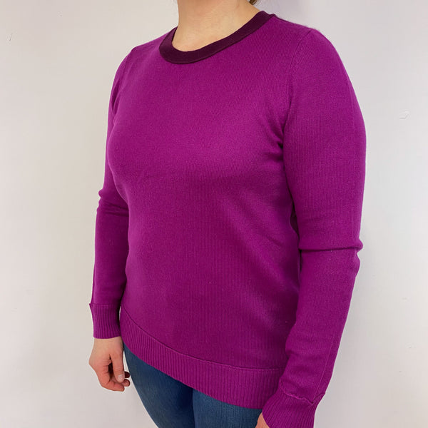 Magenta Colour Block Crew Neck Jumper Large
