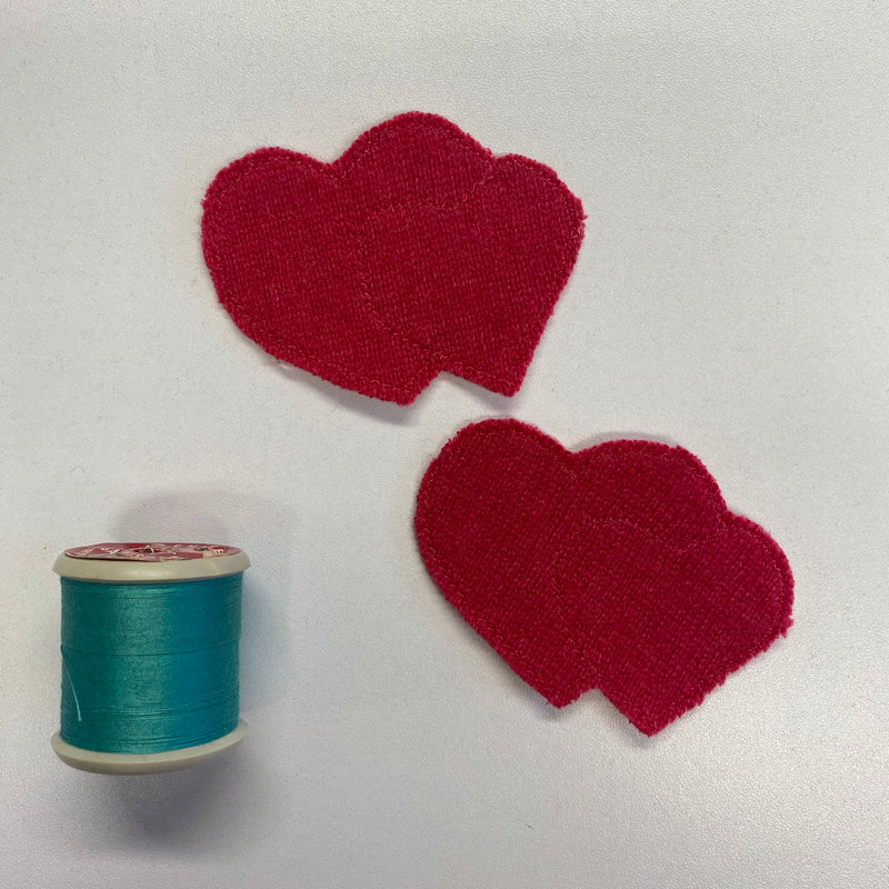 Pair of Double Heart Patches Fuchsia