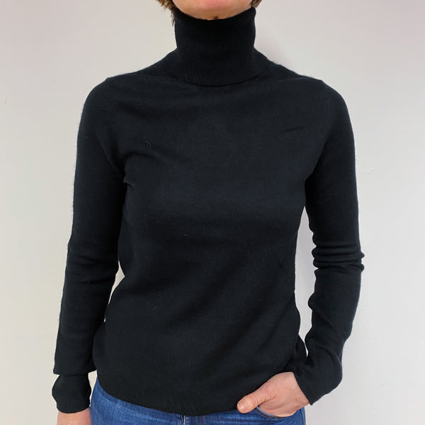 Classic Black Polo Neck Jumper Medium