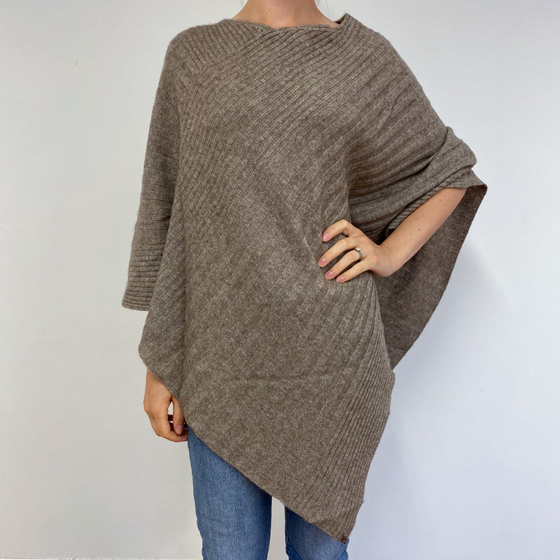 Large Camel Brown Cable Knit Poncho One Size