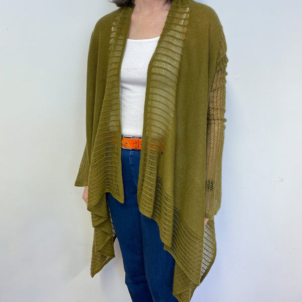 Olive Green Lace Knit Open Cardigan One Size