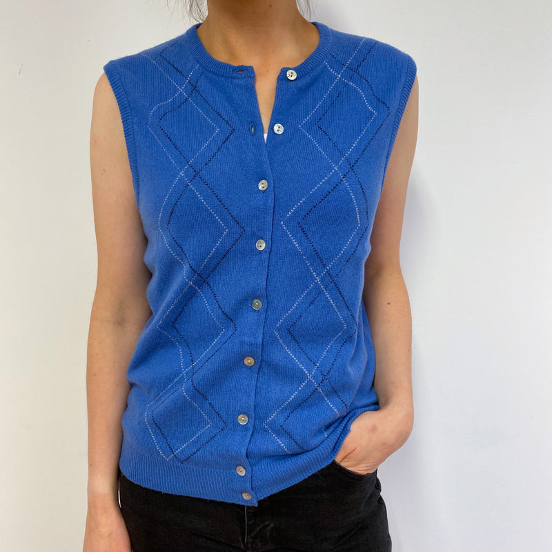 Vintage Jaegar Azure Sleeveless Cardigan Small