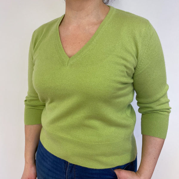 Lime Green V Neck Jumper Large
