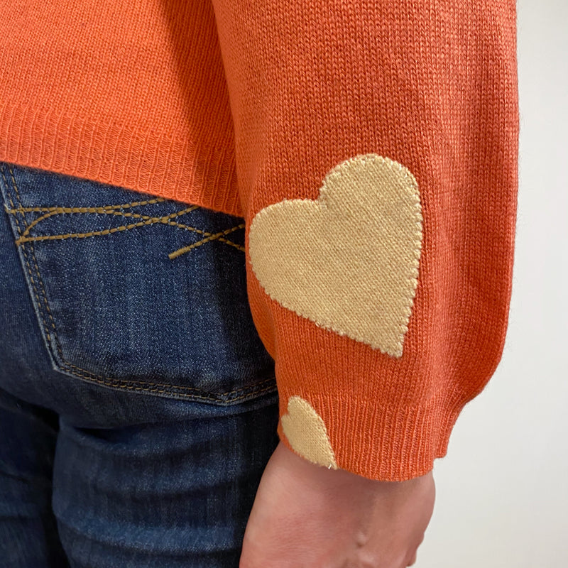 Coral Heart Detailed Crew Neck Cardigan Extra Large
