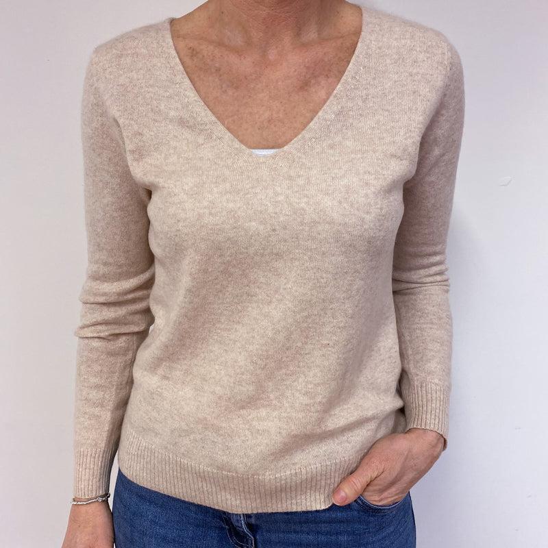 Palest Salmon V-Neck Jumper Medium
