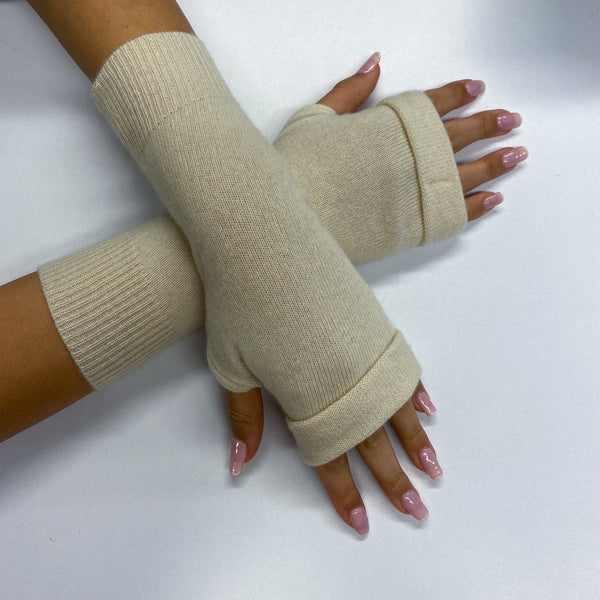Warm Cream Fingerless Gloves