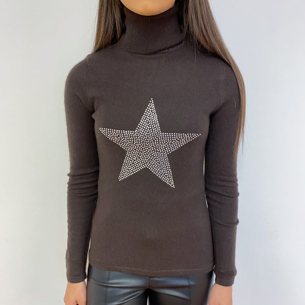 Chocolate Brown Diamanté Star Polo Neck Jumper Extra Small
