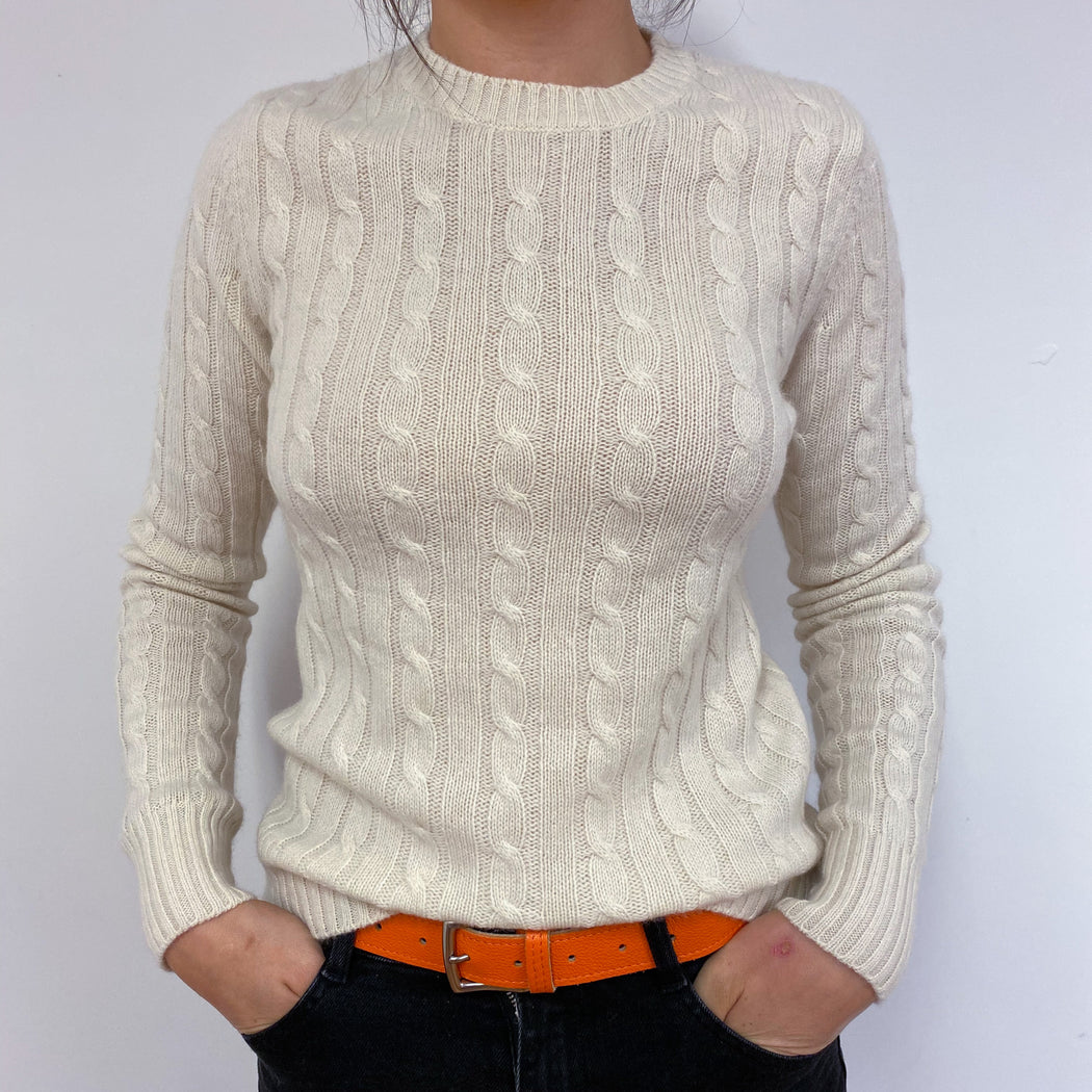 Cream Cable Knit Crew Neck Jumper Small