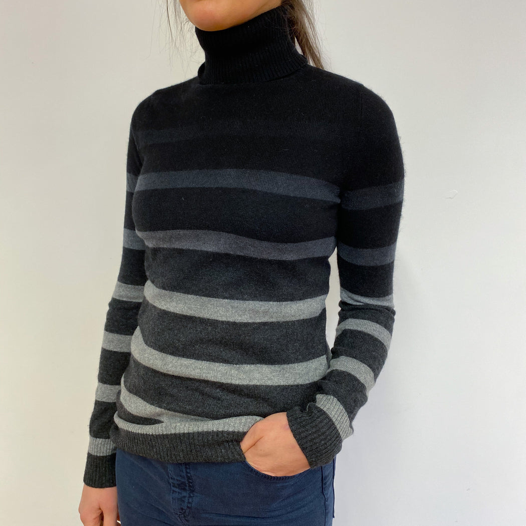 Fantastic Black and Grey Striped Polo Neck Small