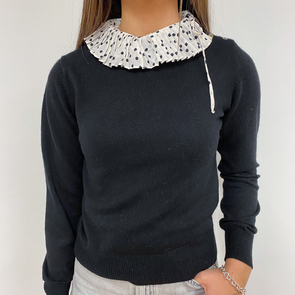 Black and White Polka Dot Frilled Collar Extra Small