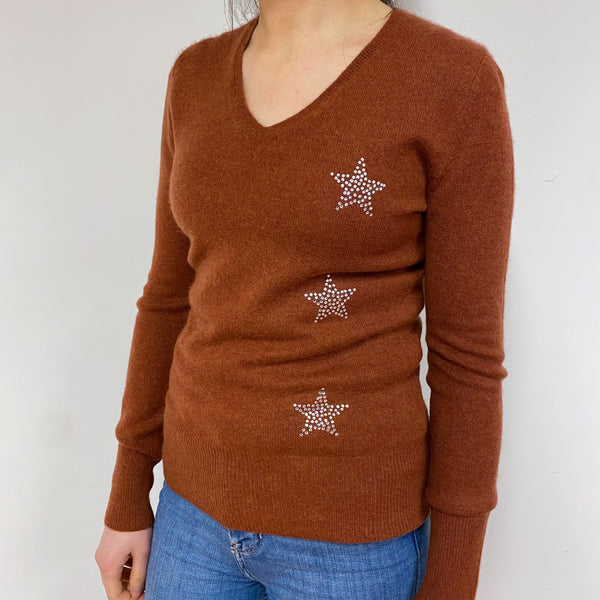 Russet Brown Sparkly V Neck Jumper Small