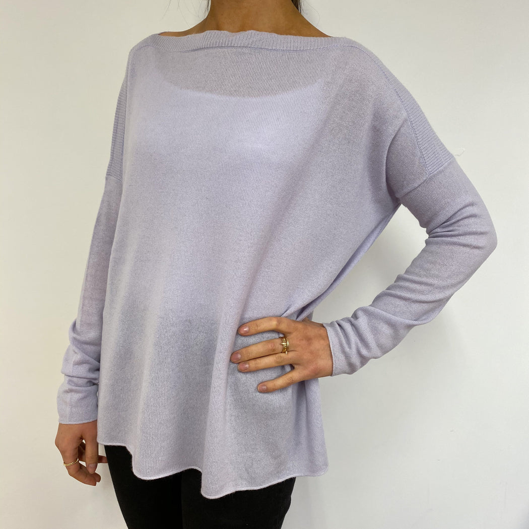 Palest Lilac Tunic Style Crew Neck Jumper Small