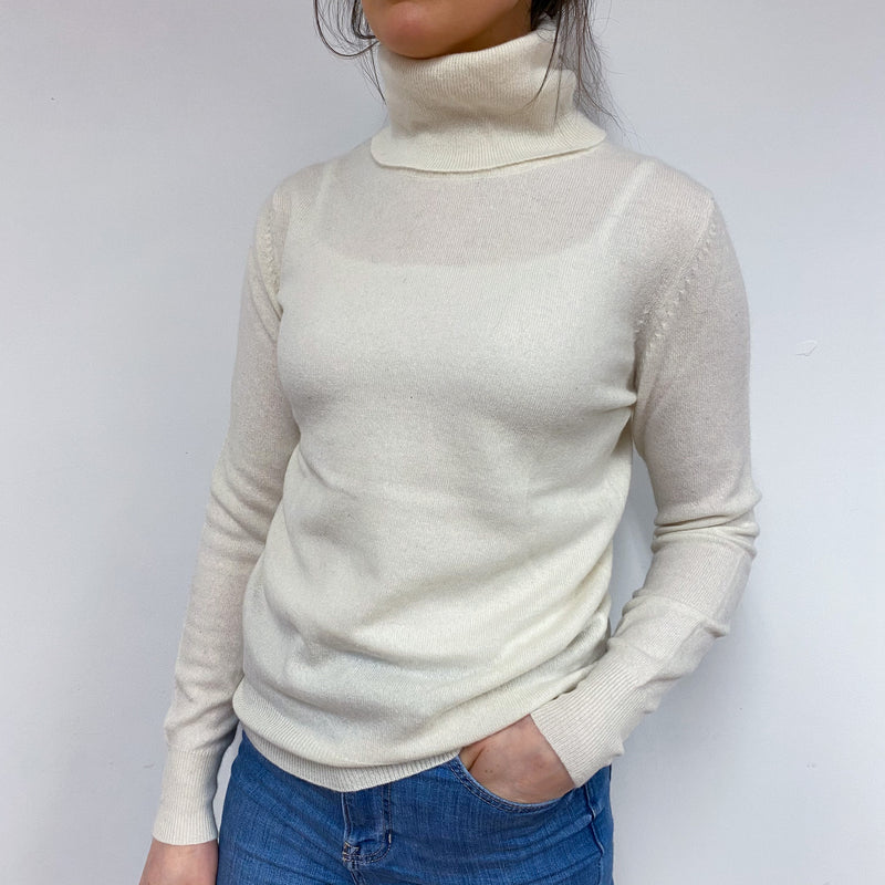 Pearl White Polo Neck Jumper Small
