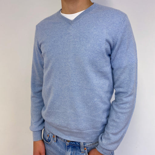 Men's Pale Blue V-Neck Jumper Small