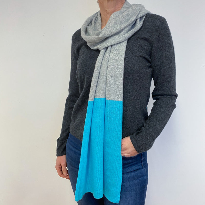 Pale Grey and Turquoise Colour Block Scarf