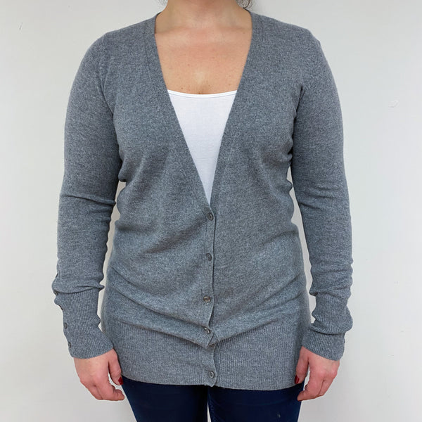 Mid Grey Long V Neck Cardigan Large