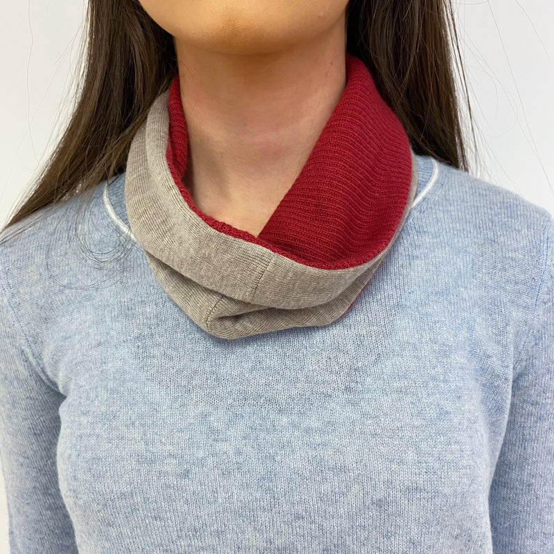 Taupe and Brick Red Neck Warmer