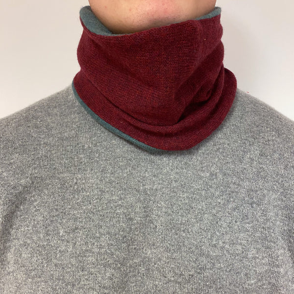 Reversible Burgundy and Sage Green Neck Warmer Unisex