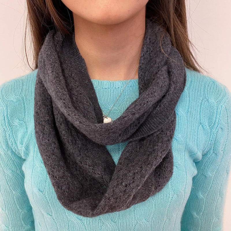 Slate Grey Crochet Knit Snood