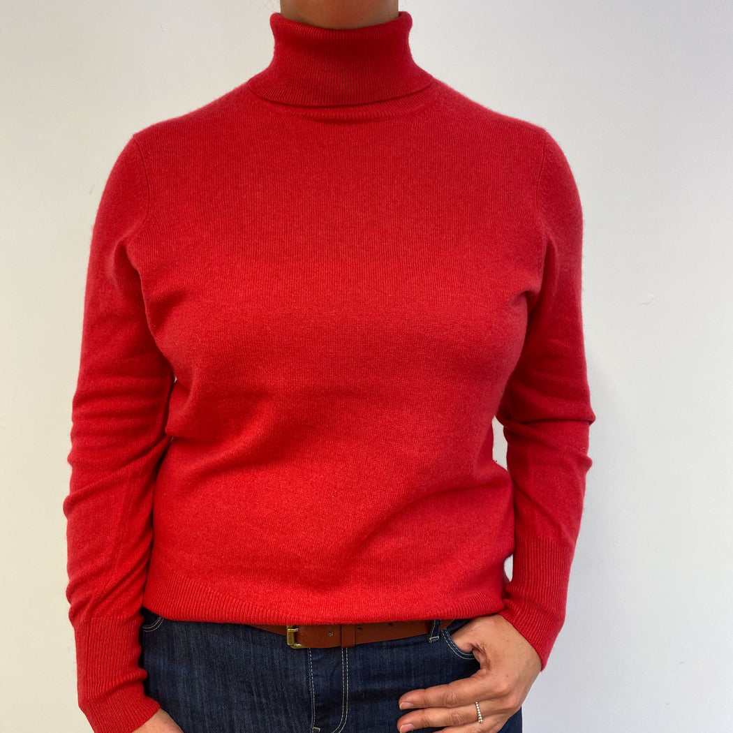 Spanish Red Polo Neck Jumper Large