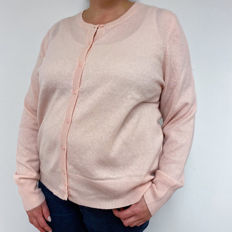 Baby Pink Crew Neck Cardigan Double Extra Large