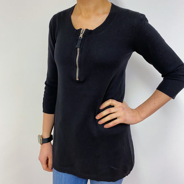 Zip Front Black Tunic Jumper Small