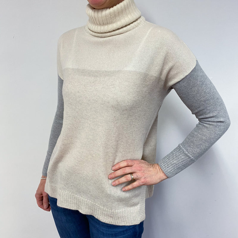 Pale Biscuit & Grey Slouchy Polo Neck Jumper Small