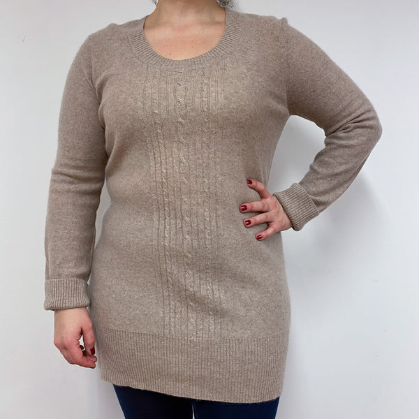 Light Brown Longer Length Scoop Neck Jumper Large