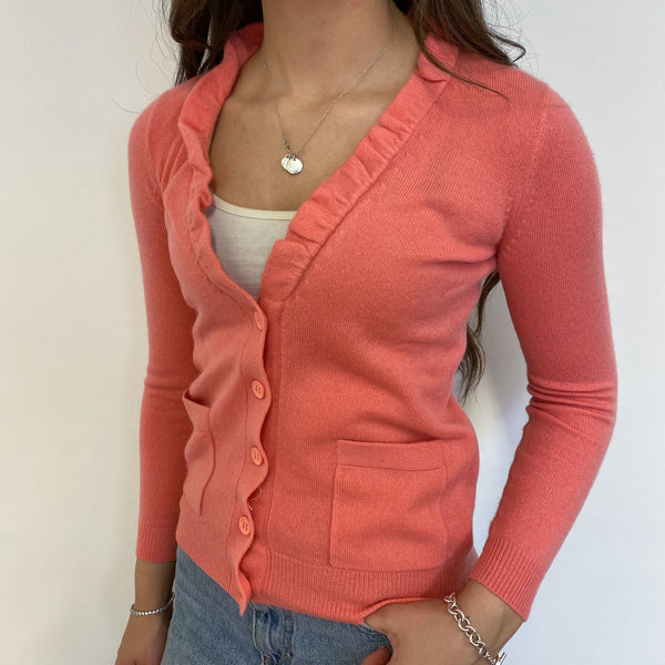 Flamingo Frilled Heart Crew Neck Cardigan Extra Small