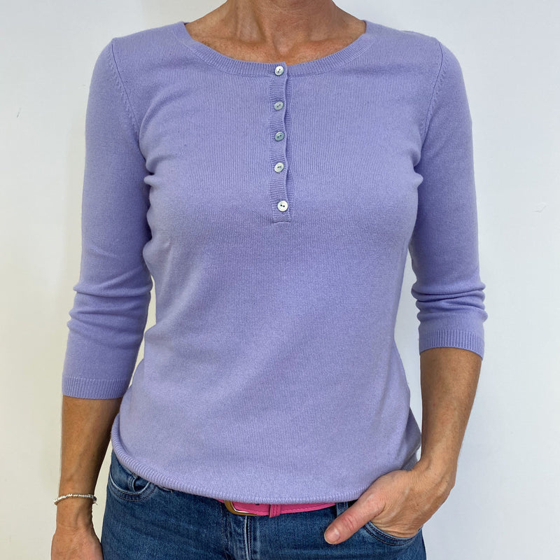 Pale Purple Crew Neck Buttoned Jumper Medium