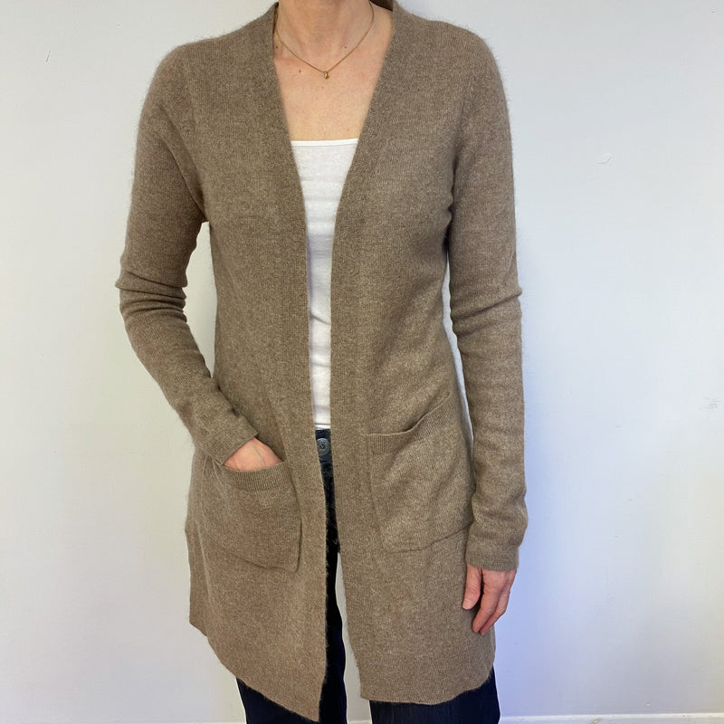 Taupe Open Long Cardigan Medium