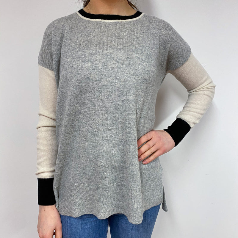 Grey Colour Block Tunic Style Jumper Small