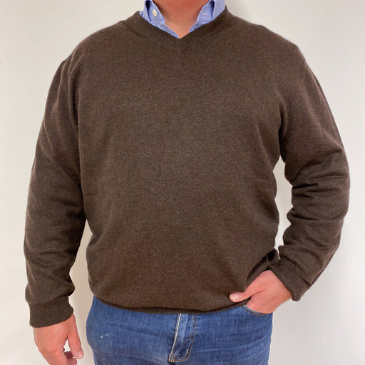 Men's Chocolate Brown V-Neck Jumper XL