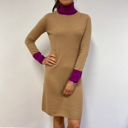 Fantastic Beige and Vibrant Purple Neck Dress Small