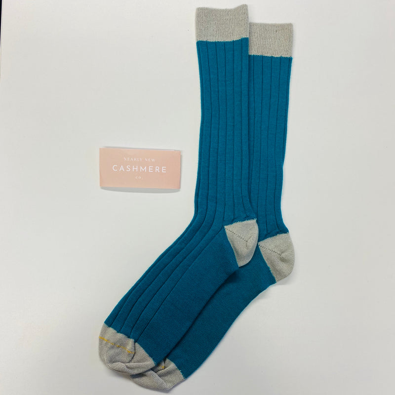 New Teal And Grey Men's Cashmere Socks