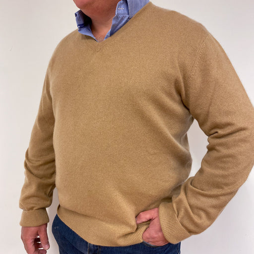 Men's Warm Beige V-Neck Jumper XL