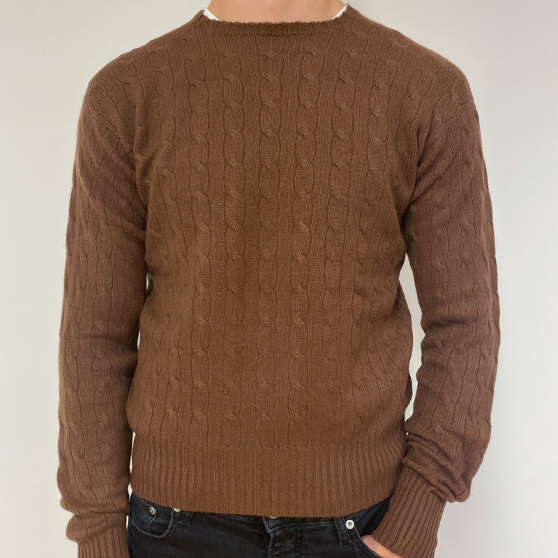 Men's Pecan Brown Cable Knit Crew Neck Jumper Large