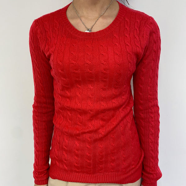 Hot Pink Cable Knit Crew Neck Jumper Extra Small