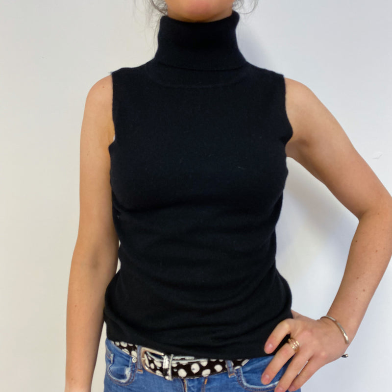 Black Sleeveless Polo Neck Jumper Small