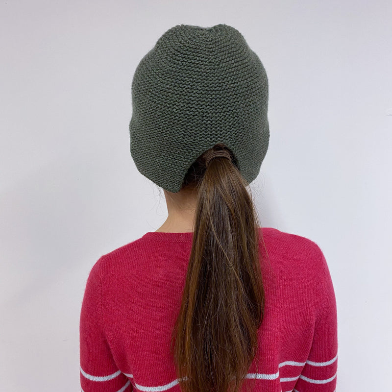 Children's Olive Green Cut out Hat
