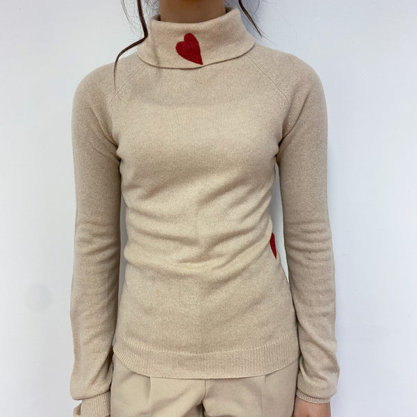 Sand Heart Detailed Polo Neck Jumper Extra Small