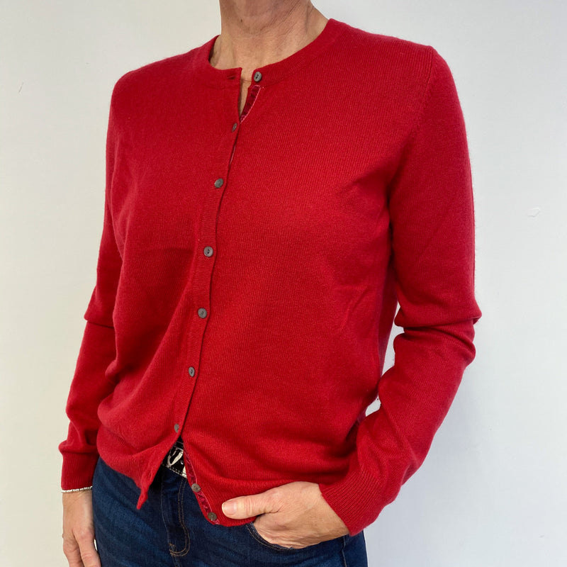Postbox Red Crew Neck Buttoned Cardigan Medium